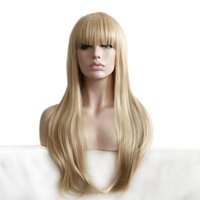 Wholesale Heat Resistant Wigs Blonde - Cheap Long Straight Synthetic Hair Wigs Full Side Bang Wig for Women Heat Resistant Blonde Wig