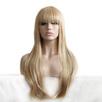 rubio pelo sintético barato al por mayor-Pelucas de pelo sintético largo y barato barato Peluca lateral completa para mujeres Peluca rubia resistente al calor