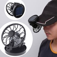 Wholesale Black Solar power Cell mini portable Fan Clip on Sun Powered Cooler Fishing Travelling Drop Shipping