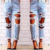 ingrosso fidanzate jeans grossi buchi-Nuovo taglio alla moda Speed sell pass Jeans da donna stile caldo in Europa e la selvaggia esagerazione sexy buco grande graffio ragazzo boyfriend jeans