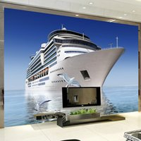 Wholesale 3d Cruise Ship - Custom Photo 3D Wallpaper Blue Sky HD cruise ship background wall decoration Backdrop Bedroom TV Background Mural wallpaper