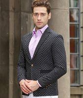 Wholesale Men Suit Design Embroidery - Wholesale- 2016 Autumn Winter Season Fashion Design wool fabric Suit men blazer embroidery blazer men Suit Polka Dot Embroidery slim Blazer