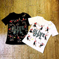 Wholesale Print Shipping Labels - 2017 new label and tag top A quality women's ladies females brand gem olive oyl cotton short tee shirts S-XL free ship