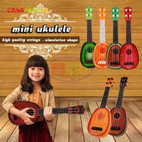 Wholesale Guitar Wood Types - CongMingGu Mini Ukulele Kids Toy Simulation Guitar Wood Color Musical Toys Children Room Decor Pretend Play Game Interest Train
