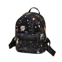Wholesale Casual Fashion For Teenage Girls - Fashion Star Universe Space Printing Backpack Black School Bags For Teenage Girls Small Backpack Women Leather Mochila Escolar HLB19T