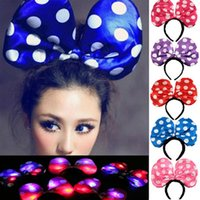 Wholesale Adults Hair Band - LED Mickey Hair Accessories adult Halloween Large Polka Dot band Hair Sticks Minnie bow Christmas Accessories
