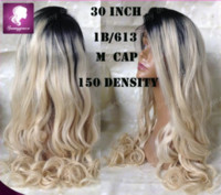Wholesale Hair Wigs Nature - 30 inch 150 density 1b blond 613 full lace wig baby hair around free part nature hairline brazilian human hair lace wig