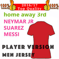 Wholesale Quality Player - 17 18 Player Version MESSI NEYMAR SUAREZ Soccer Jersey 2018 Home Red Blue Away Purple 3rd Green Jerseys 2016 Top Quality Football Shirts