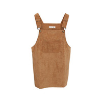 Wholesale Korea Suspenders - Wholesale- Autumn Women Vest Dress Spring Korea College Wind Restoring Ancient Ways Corduroy Suspenders Big Pocket Straight Dress