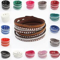 Wholesale Crystal Act - Braided leather bracelet Charm Bracelets Leather hand act the role ofing is tasted Hot drilling Multi-layer winding Fashion ladies 2017