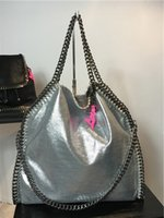 Wholesale 37cm Size - DHL free MID Size 37cm Mccartney Stella shaggy deer PVC chains fold-over tote bags women two bags luxury shopping casual shoulder bag