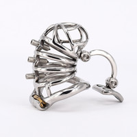 Wholesale Steel Chastity Belt Man - Chastity Cage Stainless Steel Cock Cage with Removable Spikes and Massage Stimulate Device Sex Toys For Men