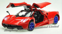 Wholesale Super Sports Car - 1:32 Scale Alloy Metal Diecast Super Sports Car Model For Pagani Huayra Collection Model Pull Back Toys Racing Car With Sound&Light