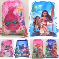 Wholesale Traveling Shoulder Bags - Oceana Moana Trolls Poppy Girls Cartoon Kids Drawstring Backpack Shopping School Traveling Bags Party Birthday Gifts