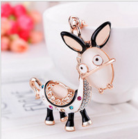 Wholesale Decorations Crystal Car - High Quality Animal Donkey Crystal Metal alloy Keyring Keychain Decoration Mobile Car chain XZ52