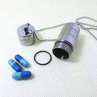 Wholesale Titanium Pill Case - MaxiTi Titanium Big size Waterproof Pills Case Capsule Storage Pendant Pill Fob