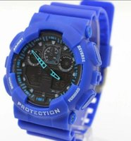 Wholesale Cheap Men Watches China - 2017 china cheap Candy quartz children plastic G LED Swimming GA-100 men sport Camouflage watches Classic S Shock denim men watch
