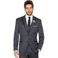 Wholesale Dark Gray Suit Mens - High qulity the groom suits fashion elegant mens wedding suits two button fashion three-piece grooms tuxedos(jacket+pants+vest)