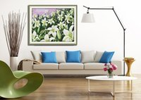 Wholesale white flower paintings for sale - Group buy Lilies scenery white flower Handmade Chinese Cross Stitch Needlework Sets Embroidery kit painting counted printed on canvas DMC CT CT