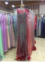 Wholesale Spaghetti Dress Real Photos - Robe De Soiree Glitter Evening Dresses with Crystals Long Champagne Prom Dresses Mermaid Party Gowns Designs Real Photo LX116