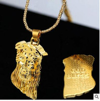 Wholesale Cheap Pendants For Men - 2pcs cheap necklace freet old color filled jesus piece pendant necklace for men women hip hop jewelry gold plated chunky chain long necklace