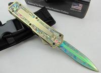 ingrosso coltelli da combattimento migliori-Top fashion MICRO TECH Scarab Coltelli tattici Double edge 440c Blade con tasca guaina coltello da sopravvivenza coltelli da campeggio