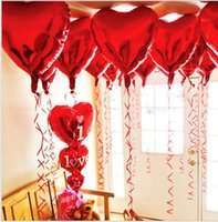 Wholesale Stage Decoration Children - 18inch Lovely Love Heart Air balloon Helium Foil Balloon Children Gifts Christmas Party Wedding Stage decoration