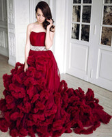 Wholesale Wedding Dress Colored Beading - Luxury Burgundy Tulle Ruffles Princess Wedding Ball Gowns 2017 Crystal Beaded Sweetheart Colored Cloud Bandage Bridal Dresses Pageant Gowns
