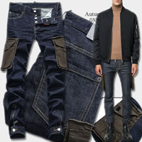 Wholesale Rose 31 - Cargo Pockets Jeans Man Button Fly Low Rise Zipper And Button Ankle Denim Trousers Men's Cropped Contrast Stitching