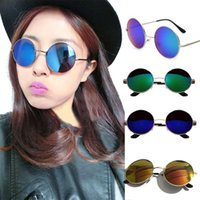 Wholesale womens gothic - Wholesale- Mens Womens Retro Vintage Sunglasses Female Round Metal Frame Gothic Eyewear Brand Designer Oversized Mirror Sun Glasses Shades