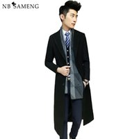 Wholesale Men Fashion Simple Coat Style - Wholesale- Free Shipping 2017 Fashion Solid Long Woolen Coat Men Slim Autumn Thin Overcoat Worsted Casual Simple Style Wool Jacket 13M0477