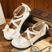 Wholesale White Pink Lolita Shoes - Japanese designer shoes lace bowknot round shallow toe shoe Lolita cos soft girl princess shoes