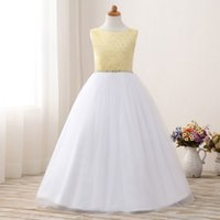 UK wedding dress sweetheart beading real - Hot Sale Real Pic Flower Girl Dress With Bow Back For Wedding Floor Length Top Beading Sequin Pageant Party Gown Custom Made