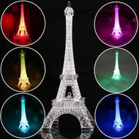 eiffelturm weihnachtslichter großhandel-13 cm Bunte Eiffelturm Nachtlicht Paris Stil Dekoration LED Lampe Mode Schreibtisch Schlafzimmer Acryl Licht Weihnachtsgeschenk G1L