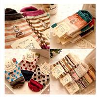 Wholesale Japanese Cartoon Art - Wholesale- 10 pairs=1 lot Cute Cartoon Embroidery Stripe Peter Rabbit Tube Art Print Novelty Cotton 3D Casual Japanese Socks MF748512
