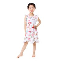 Wholesale Boutique Style Dresses Wholesale - European and American Style Baby Girls Boutique Clothes Floral Printed Lace Kids Knee-Length Dress Hot Sales Summer Children Clothing