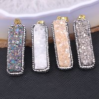 Wholesale Titanium Drusy Wholesale - 5pcs Rectangle Agate Titanium Druzy Quartz Pendant, Natural Drusy Geode Bar Pendant, Crystal paved stone pendant