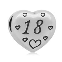 Wholesale Stainless Steel Pandora - comejewelry Message Number 40 21 18 Beads European Style Stainless Steel Heart Fit Pandora Bracelet for Woman Making Jewelry
