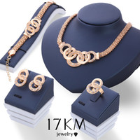 Wholesale Luxury Handcuffs - Fashion Luxury Crystal Handcuffs Necklace Earring Bracelet Ring Set Metal Gold Plated Rhinestone Unique Eight Circle Cross Jewelry