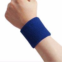 Wholesale Terry Cotton Wristbands - Wholesale- 1 Piece Blue Unisex Terry Cloth Cotton Sweatband Sports Wrist Tennis Yoga Sweat WristBand