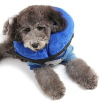 Wholesale Pvc Dog Collar - High Quality PVC Inflatable Pet Collar Comfortable Dogs Cat Protective Recovery Collar Blue Color 30.5CM WA1906