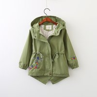 Wholesale Cashmere Coat Girl - Everweekend Girls Floral Embroidered Hooded Windbreaker Cute Baby Green and Pink Color Coat Sweet Kids Zipper Fall Outerwear