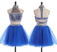 Платья для выпускников средней школы на 15 лет Curto Royal Blue Two Piece Homecoming Dresses Short 2 Piece Prom Gown Real Image HY0097
