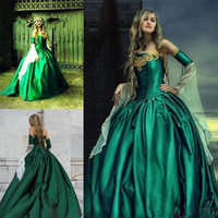 Wholesale victorian halloween ball gown - 2017 Gothic Wedding Dresses Halloween Victorian Bridal Gowns Long Sleeves Floor Length Corset Back Satin Hunt Green Embroidery
