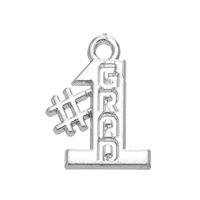 Hot Fashion DIY Pingente Jóias Metal Letter Rhodium Plated Number 1 Grad Charms para Graduate Gift