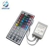 Wholesale Led Light Strip Coloured - 12V 44 Keys Wireless IR Remote RGB Mini Controller Dimmer for smd 5050 3528 led Strips Lights 7 colour module