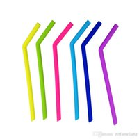 Wholesale Army Spoon - 24.5cm Length Colored Food Grade Silicone Straw Silica Gel Drinking Straw Juicing Smoothies Milkshakes Bar Party Supplies ZA3917