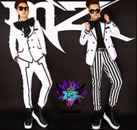 Wholesale Korean Suit Clothing - South Korean men's singer DJ blockb Chi Long GD right white black stripe big bow suit dress costumes Nightclubs clothing