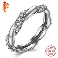 BELAWANG Genuine 925 en argent sterling BRAIDED Ring Pave Crystal Love Finger Rings pour les femmes / Girls Fashion Twisted Jewelry Wholesale # 678