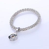 Wholesale New Fashion Sliver Plated Snap Button Bracelet Elastic Snake Chain Charm Bracelet Bangles For Women Jewelry pulseries